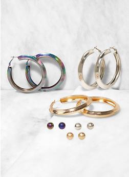 Set of Stud and Textured Tube Hoop Earrings - 3135062924718