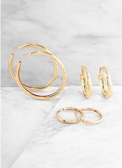 Trio of Metallic Tube Hoop Earrings - 3135062925236