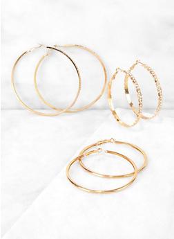 Rhinestone Studded Textured Hoop Earring Trio - 3135062925982