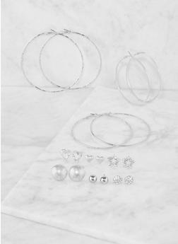 Set of 9 Assorted Hoop and Stud Earrings - 3135062925990