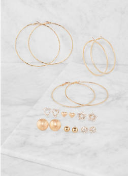 Set of 9 Assorted Hoop and Stud Earrings - 3135062925990
