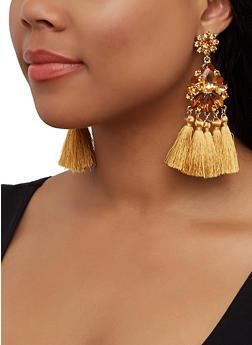 Jeweled Tassel Chandelier Earrings - 3135062926320