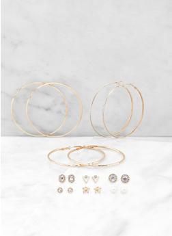 Halo Stud and Hoop Earrings Set - 3135062926914