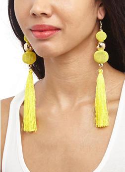 Metallic Ball Tassel Earrings - 3135062927203