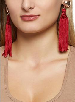 Metallic Dome Tassel Earrings - 3135062927214
