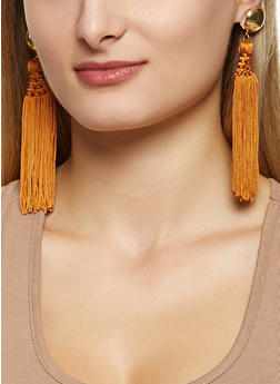 Metallic Dome Tassel Earrings - 3135062927214