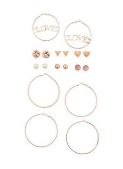 9 Piece Assorted Love Hoop and Stud Earrings Set - 3135062927369
