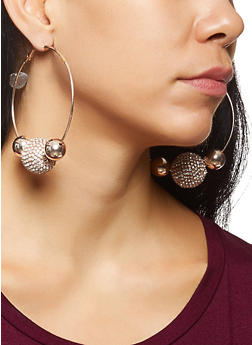 Rhinestone Ball Hoop Earrings - 3135062927650