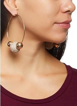 Rhinestone Ball Hoop Earrings - 3135062927650