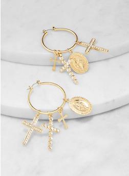 Multi Religious Charm Hoop Earrings - 3135062928109