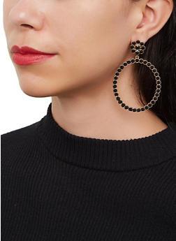 Rhinestone Circle Drop Earrings - 3135062928610