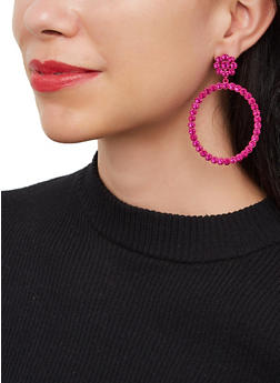 Rhinestone Circle Drop Earrings - 3135062928610