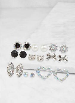 Set of 9 Assorted Stud Earrings - 3135062928636