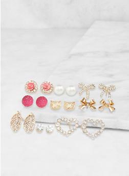 Set of 9 Assorted Stud Earrings - 3135062928636
