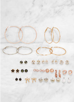Set of 20 Assorted Textured Stud and Hoop Earrings - 3135062928897