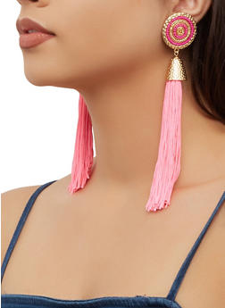 Beaded Metallic Detail Tassel Drop Earrings - 3135062929310