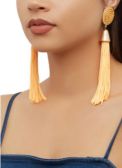 Beaded Metallic Detail Tassel Drop Earrings - 3135062929310