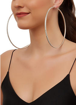 Jumbo Rhinestone Hoop Earrings - 3135063094774