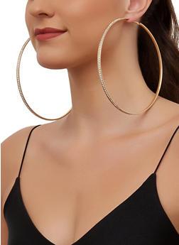 Jumbo Rhinestone Hoop Earrings - 3135063094774