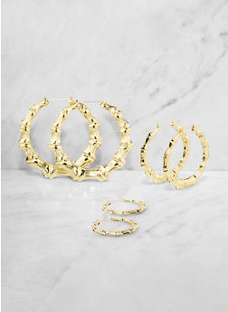 Variegated Bamboo Hoop Earrings - 3135063095596