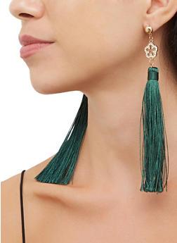 Rhinestone Flower Tassel Earrings - 3135063095746
