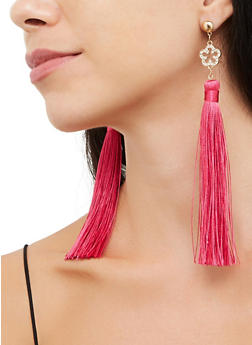 Rhinestone Flower Tassel Earrings - 3135063095746