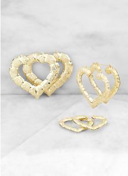 Variegated Bamboo Heart Hoop Earrings - 3135063097452