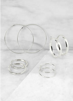 Set of 4 Variegated Hoop Earrings - 3135063097898
