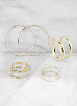 Set of 4 Variegated Hoop Earrings - 3135063097898