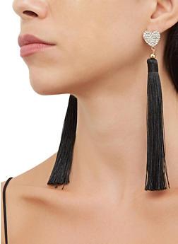 Rhinestone Heart Tassel Earrings - 3135063098844