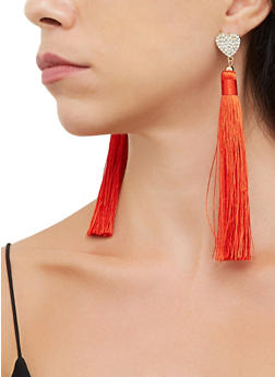 Rhinestone Heart Tassel Earrings - 3135063098844