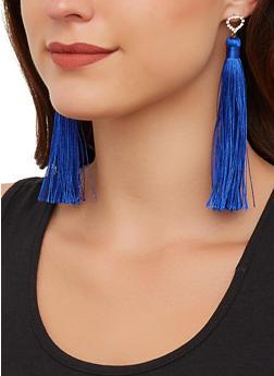 Rhinestone Detail Tassel Drop Earrings - 3135063099101