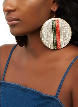 Oversized Rhinestone Striped Disc Earrings - 3135065190971