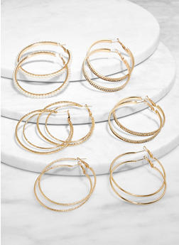 6 Assorted Faux Pearl Hoop Earrings Set - 3135065198843