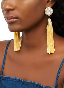 Rhinestone Disc Tassel Earrings - 3135065199050