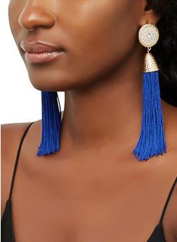 Rhinestone Disc Tassel Earrings - 3135065199050