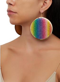 Large Rhinestone Disc Earrings - 3135067253064
