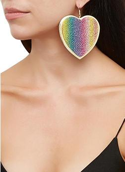 Rainbow Rhinestone Heart Disc Earrings - 3135067253084