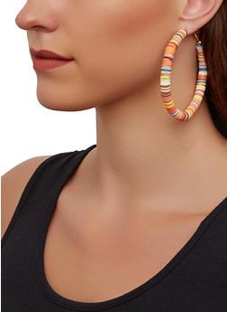 Disc Beaded Hoop Earrings - 3135067254007