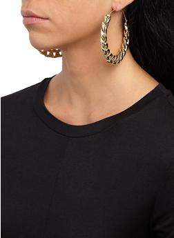 Curb Chain Hoop Earrings - 3135067257513