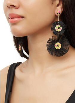Double Beaded Fringe Drop Earrings - 3135071210095