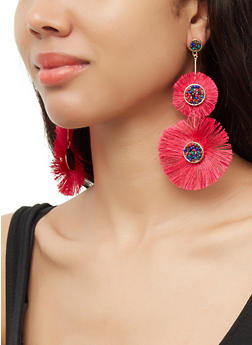 Double Beaded Fringe Drop Earrings - 3135071210095