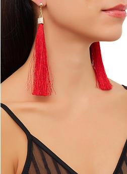 Rhinestone Tassel Earrings - 3135071210561