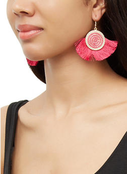 Beaded Disc Fringe Earrings - 3135071211010