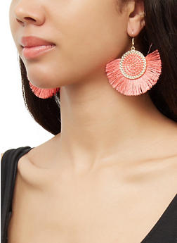 Beaded Disc Fringe Earrings - 3135071211010