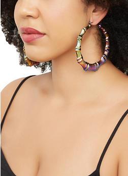 Multi Color Metallic Bamboo Hoop Earrings - 3135071214001