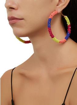 Color Block Beaded Hoop Earrings - 3135071218010