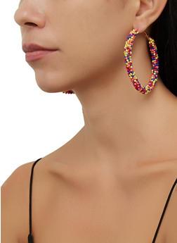 Beaded Multi Color Hoop Earrings - 3135071219014