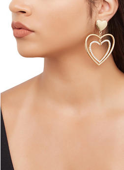 Double Heart Drop Earrings - 3135071431030