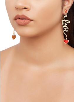 Love Heart Drop Earrings - 3135071433100